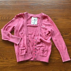 Hollister Pink 3/4 Sleeve Sweater Cardigan